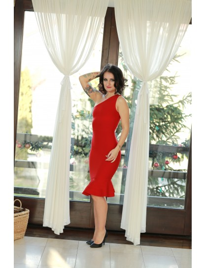 Middle long red one-shoulder bandage evening dress